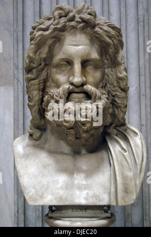 Greek Mythology. Zeus of Otricoli. Marble bust. Roman copy after a Greek original from the 4th century. Pio-Clementino - Stock Photo