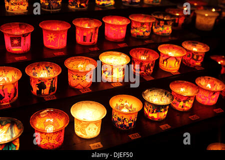 Candle holders on sale at a stall at Roncalli Christmas Market in Hamburg, Germany. The market in front of Hamburg's - Stock Photo