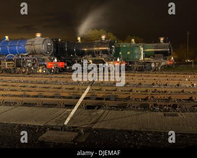 GWR  preserved steam locomotives 6023 'King Edward II', 43xx Class 2-6-0 5322 & Collett 5600 Class 0-6-2T  6697 - Stock Photo
