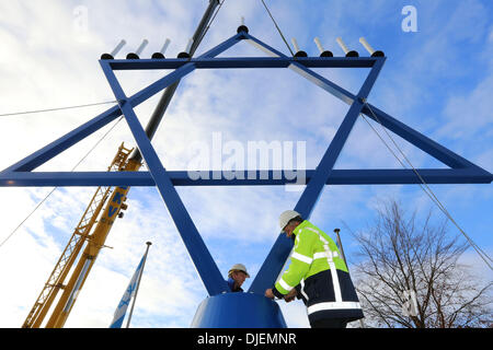 The largest chanoekia (menorah) of the world is since 25-11-2013 situated next to the building of the organization - Stock Photo