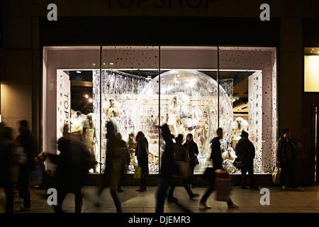 Oxford street Shopping scene, Topshop, London, England, UK,Christmas, Shopping, Winter. - Stock Photo