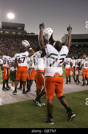 Oct 20, 2007 - Tallahassee, Florida, USA - Canes #72 ANDREW BAIN celebrates as UM came back to defeat the Seminoles. - Stock Photo