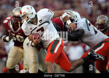 Oct 20, 2007 - Tallahassee, Florida, USA - Canes QB KIRBY FREEMAN gains 8 yards on a run in the third quarter. (Credit - Stock Photo