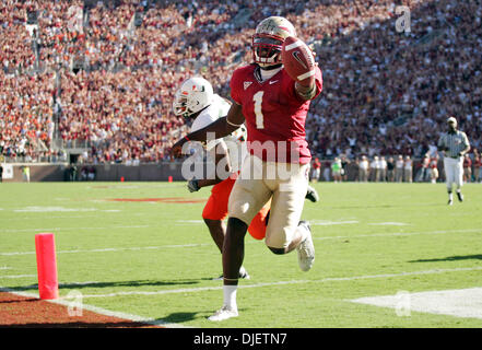 Oct 20, 2007 - Tallahassee, Florida, USA - Seminoles QB XAVIER LEE scores on a bootleg play in the first quarter. - Stock Photo
