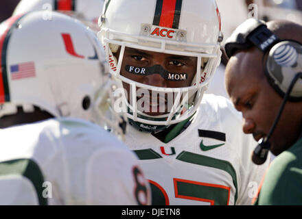 Oct 20, 2007 - Tallahassee, Florida, USA - Canes wide receiver KHALIL JONES has a message for mom. (Credit Image: - Stock Photo