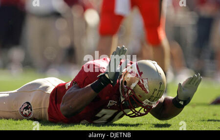 Oct 20, 2007 - Tallahassee, Florida, USA - Seminoles #36 DEKODA WATSON pounds the turf after dropping a possible - Stock Photo