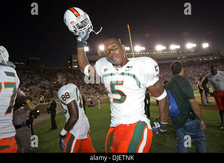Oct 20, 2007 - Tallahassee, Florida, USA - Canes #5 running back JAVARRIS JAMES celebrates at the end of the game. - Stock Photo