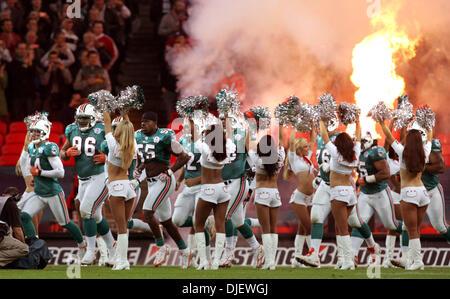 Oct 28, 2007 - London, England, UK - The Dolphins take the field at Wembley stadium. (Credit Image: © Allen Eyestone/Palm - Stock Photo