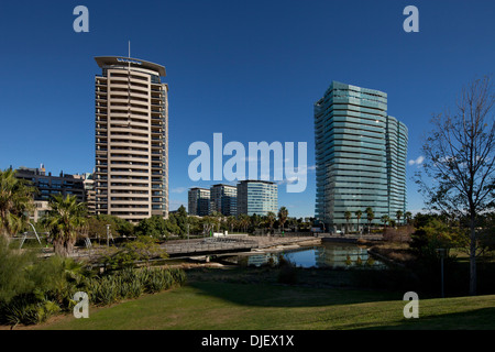 Apartment buildings in Parc Diagonal Mar, Barcelona, Spain - Stock Photo