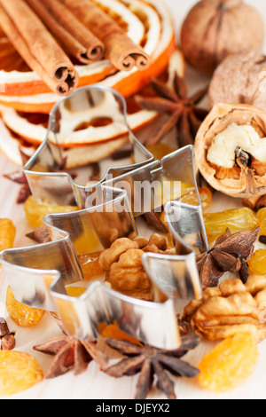 Christmas baking ingredients, spice, nut, raisin - Stock Photo