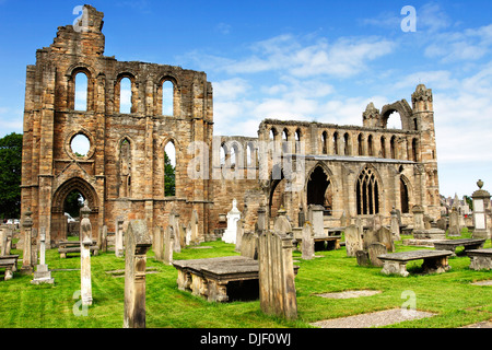 A view of the ruins and gravestones of the medieval Cathedral at Elgin in the Highlands of Scotland. - Stock Photo