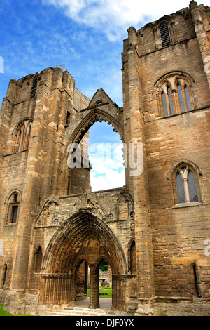 A view of the ruined facade of the medieval Cathedral at Elgin in Morayshire, in the Highlands of Scotland. - Stock Photo