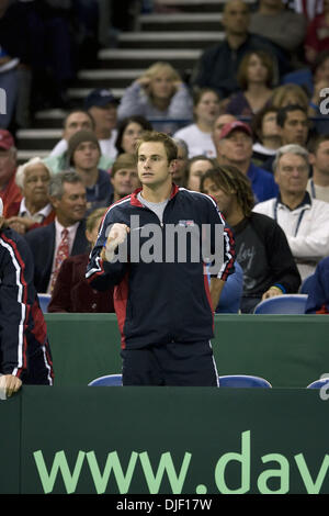 Dec 01, 2007 - Portland, Oregon, USA - ANDY RODDICK cheers on the Bryan brothers during their doubles match that won the US the Davis Cup title. The United States won its first Davis Cup title since 1995 behind a convincing doubles victory Saturday by the Bryan brothers who cruised to a 7-6 (4), 6-4, 6-2 win over Russia's Nikolay Davydenko and Igor Andreev on the indoor hard court