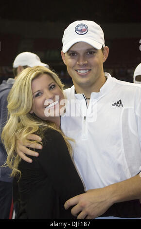 Dec 01, 2007 - Portland, Oregon, USA - BOB BRYAN and girlfriend, SAMANTHA are all smiles after the Bryan brothers secured the USA win for the 2007 Davis Cup. The United States won its first Davis Cup title since 1995 behind a convincing doubles victory Saturday by the Bryan brothers who cruised to a 7-6 (4), 6-4, 6-2 win over Russia's Nikolay Davydenko and Igor Andreev on the indoo