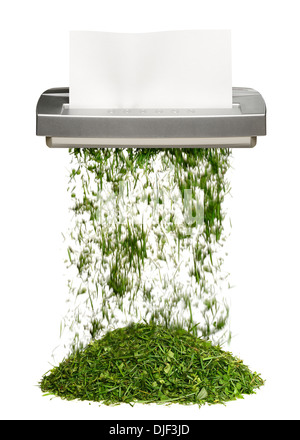 Shredder Turning Paper Into Grass. Green Office Concept. - Stock Photo