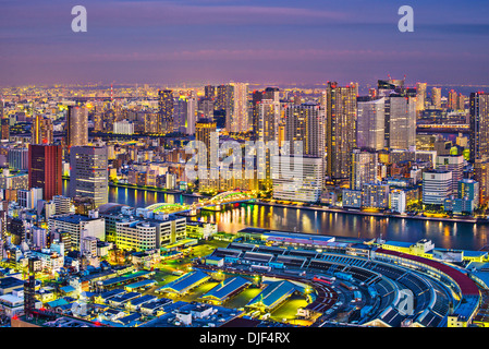 View of Tokyo, Japan over Tsukiji Fish Market. - Stock Photo
