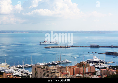 Ferry sailing in sea in Majorca, Spain - Stock Photo