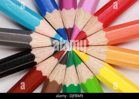 Colored pencils in a row forming a circle