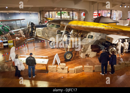Dearborn, Michigan - The Ford Trimotor on display at the Henry Ford Museum. - Stock Photo