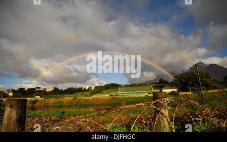 June 13, 2010 - Cape Town, SOUTH AFRICA - A rainbow is seen in a rural area Sunday, June 13, 2010 in Cape Town, South Africa. (Credit Image: © Mark Sobhani/ZUMApress.com)