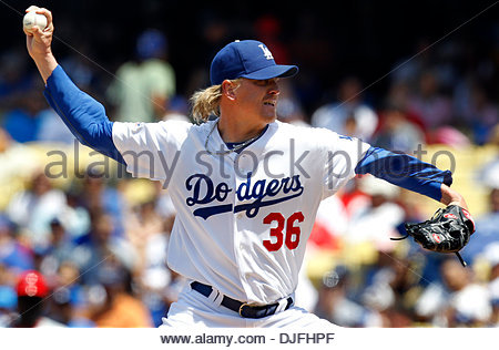 Jun. 13, 2010 - Los Angeles, CA, USA - Los Angeles Dodgers relief pitcher Jeff Weaver (36) in the third inning during - Stock Photo