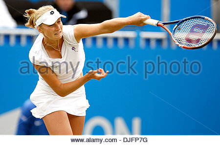 Ekaterina Makarova of Russia serves..Aegon International Eastbourne Final..Victoria Azarenka v Ekaterina Makarova..19th - Stock Photo