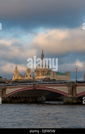 St Paul's Cathedral and Blackfriars Bridge from the River Thames - Stock Photo