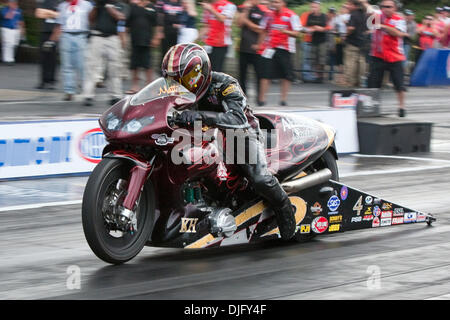 27 June 2010: Matt Smith (#4 Al-Anabi Racing Buell) races in the final round in the Pro Stock Motorcycle Finals - Stock Photo