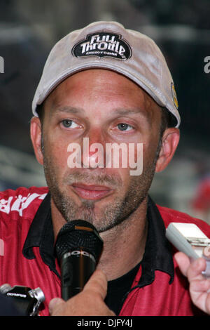 27 June 2010: Matt Smith (#4 Al-Anabi Racing Buell) ) is interviewed in the media center following his victory in - Stock Photo