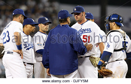Jun. 27, 2010 - Los Angeles, California, U.S. - Los Angeles Dodgers manager Joe Torre talks with Jonathan Broxton - Stock Photo