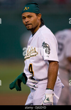July 19, 2010 - Oakland, California, U.S. - Oakland Athletics outfielder COCO CRISP #4 shows emotion after striking - Stock Photo