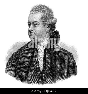 Portrait of Edward Gibbon, 1737 - 1794, an English historian and Member of Parliament, - Stock Photo
