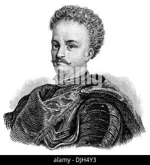 Portrait of John III Sobieski 1629 - 1696, monarch of the Polish–Lithuanian Commonwealth, King of Poland and Grand - Stock Photo