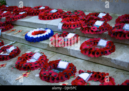 Poppy Wreaths laid on Norwich War Memorial during Remembrance Sunday - Stock Photo
