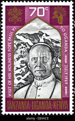 postage stamp Uganda 70c featuring Visit of His Holiness Pope Paul VI to Uganda July 1969 issued 1969 - Stock Photo