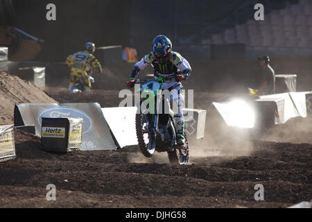 July 29, 2010 - Los Angeles, CA, United States of America - 29 July 2010:  Josh Hansen (1) lead 10 of the 15 laps - Stock Photo
