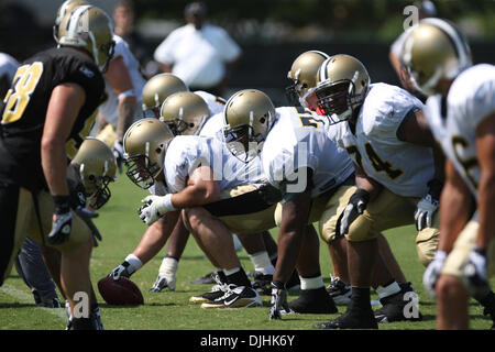 July 31, 2010 - New Orleans, Louisiana, United States of America - 31 July 2010: The Saints line up for scrimmage - Stock Photo