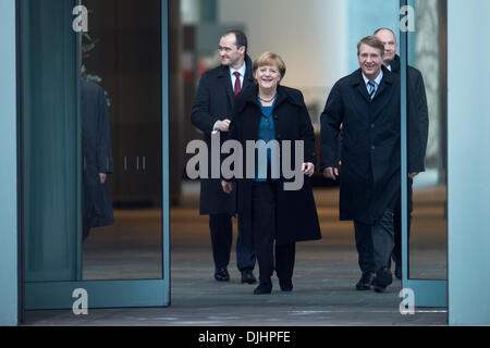Berlin, Germany. November 28th 2013. Federal Chancellor Angela Merkel and Minister Ronald Pofalla  Officially open - Stock Photo