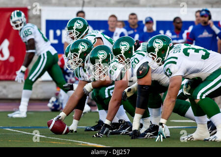 Aug. 06, 2010 - Montreal, Quebec, Canada - 06 August 2010: Saskatchewan's offensive line during a CFL football game - Stock Photo