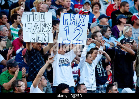 Aug. 06, 2010 - Montreal, Quebec, Canada - 06 August 2010: Fans during a CFL football game between the Montreal - Stock Photo