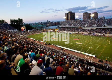Aug. 06, 2010 - Montreal, Quebec, Canada - 06 August 2010: A sunset view during a CFL football game between the - Stock Photo