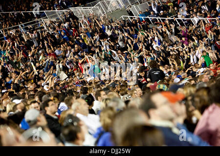 Aug. 06, 2010 - Montreal, Quebec, Canada - 06 August 2010: The Wave during a CFL football game between the Montreal - Stock Photo
