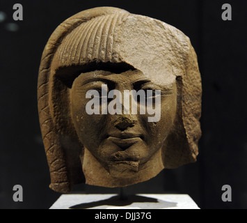 Head of a statue of prince Khaemwaset, son of King Ramesses II. Quartzite. New Kingdom. 19th Dynasty. 1260 BC. - Stock Photo