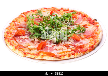 Pizza with bacon and arugula on a white background. Clipping path.