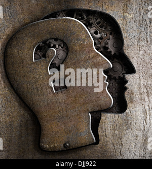 Human brain open with question mark on metal lid - Stock Photo