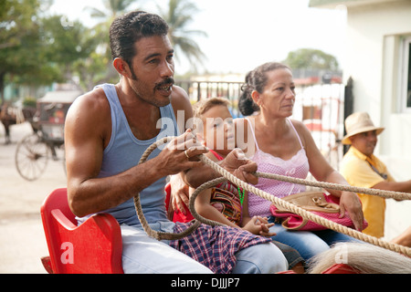 Cuba family - A cuban mother, father and son in a horse and carriage, Havana, Cuba, Caribbean, Latin America - Stock Photo