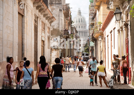 Havana Cuba street scene, Brasil Street with the Capitolo in the background, Havana, Cuba Caribbean, Latin America - Stock Photo
