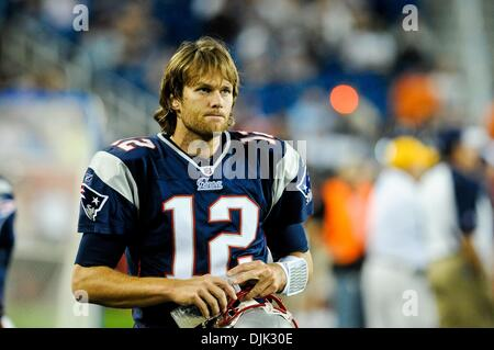 Aug. 26, 2010 - Foxborough, Massachusetts, United States of America - New England Patriots' QB TOM BRADY (12) looks - Stock Photo