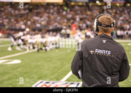 Aug 21, 2010: New Orleans Saints head coach Sean Payton looks on his team during the preseason game between the - Stock Photo