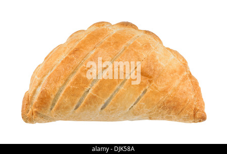Traditional National Dish of Cornwall a Cornish Pasty isolated against a white background - Stock Photo